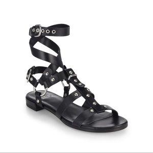 "Stuart Weitzman Black Leather ""On The Run"" Sandals"